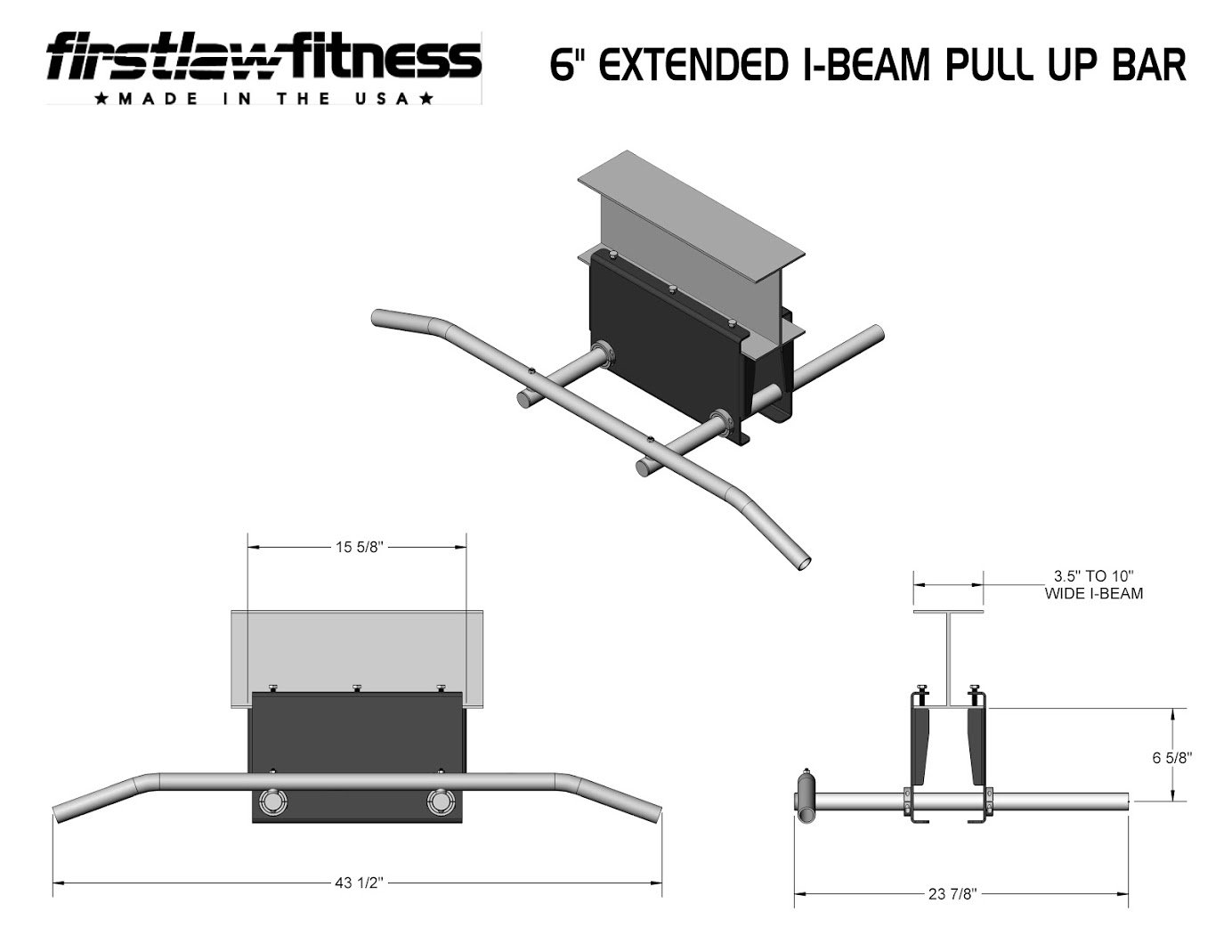 Firstlaw Fitness - 600 LBS Weight Limit - 6'' Extended I-Beam Pull Up Bar - Long Bar with Bent Ends - Durable Rubber Grips - Red Label - Made in the USA! by Firstlaw Fitness (Image #3)