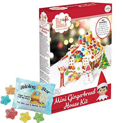 Elf On The Shelf Mini Gingerbread House Kit Pre Baked Free Shining Star Fruit Snacks Candy Pack To Decorate Christmas Diy 7 Oz Kit Pre Made