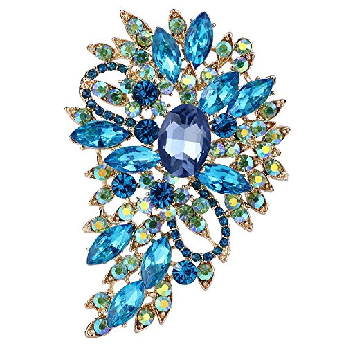 EVER FAITH Women's Austrian Crystal Wedding Flower Leaf Bouquet Brooch Light Blue w/Green AB Gold-Tone