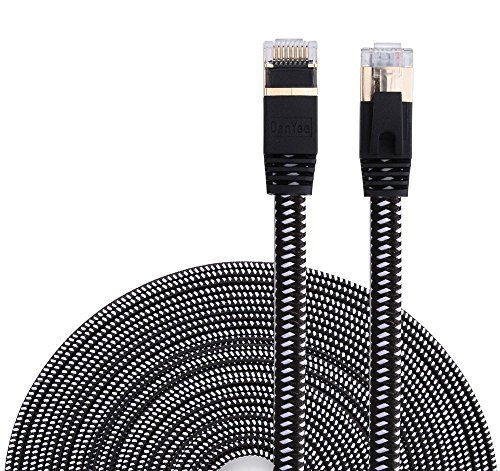 Cat 7 Ethernet Cable, DanYee Nylon Braided 10ft CAT7 High Speed Professional Gold Plated Plug STP Wires CAT 7 RJ45 Ethernet Cable 3ft 10ft 16ft 26ft 33ft 50ft 66ft 100ft - Cat Wire