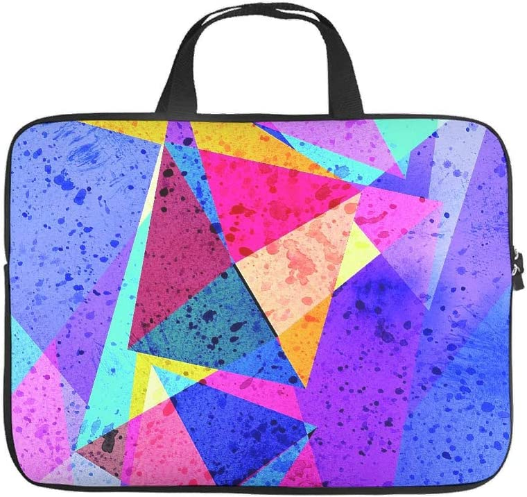 Personalized Tablet Bag Colorful Triangles Pattern Laptop Carrying Case Scratch Resistant Neoprene Notebook Cover Compatible with Laptop White 13inch