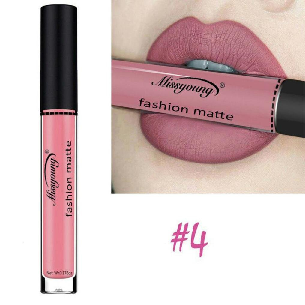 TrimakeShop Liquid Matte Lip Gloss Moisturizing Waterproof Long Lasting Velvet Cosmetics (#4)