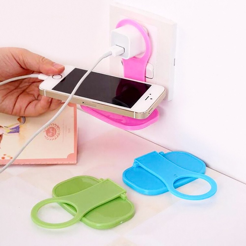 DEESEE(TM)2Pcs Foldable Plastic Cell Phone Wall Charger Hanger Holder Charging Rack Stand Cradle Universal Random Colors