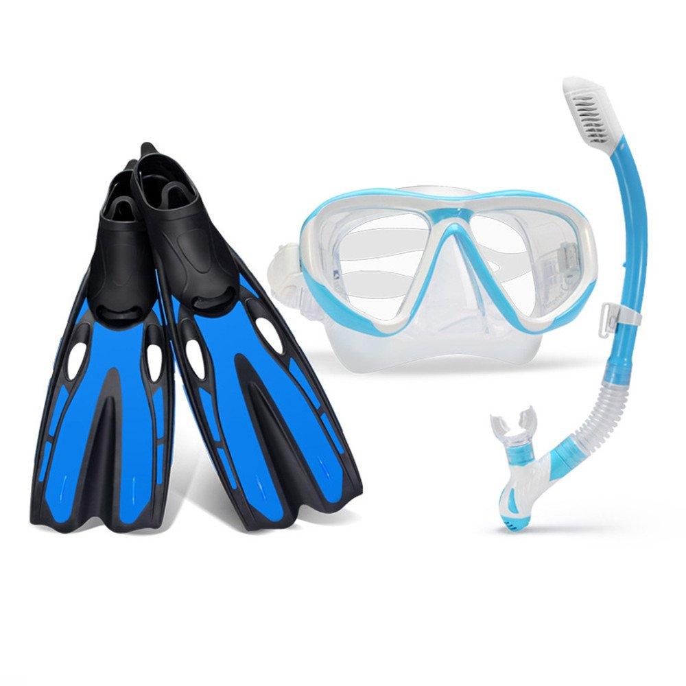 初心者向け 水泳フィン スキューバシュノーケルセットアダプティブダイビングフィン、強化ガラスダイビングマスク、ドライスノーケル(大人、男性、女性用) 着脱簡単 軽量 快適 大人 メンズ レディース 子供 (色 : 青, サイズ : ML) B07PVFSYTQ 青 Medium Medium|青