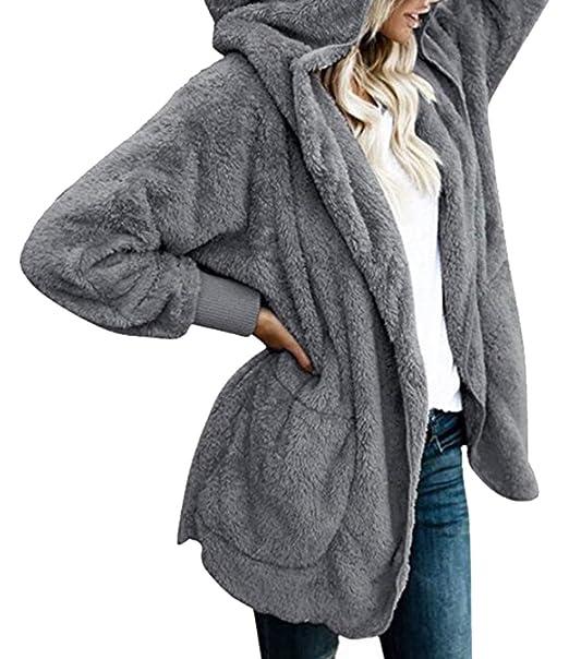 4cc022a527 lovever Women Fuzzy Fleece Jacket Open Front Hooded Sweatshirt Cardigan  Coat Outwear 1 XXS