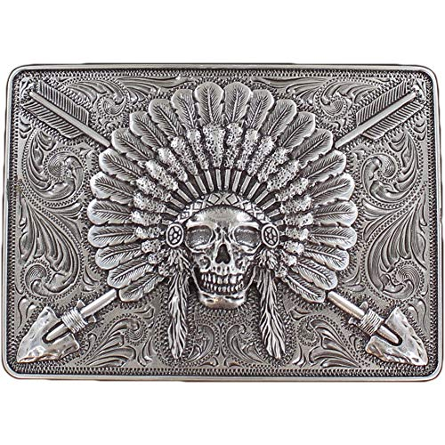 (Ariat Men's Chief Skull With Headdress Motif Rectangle Buckle, Silver, OS)