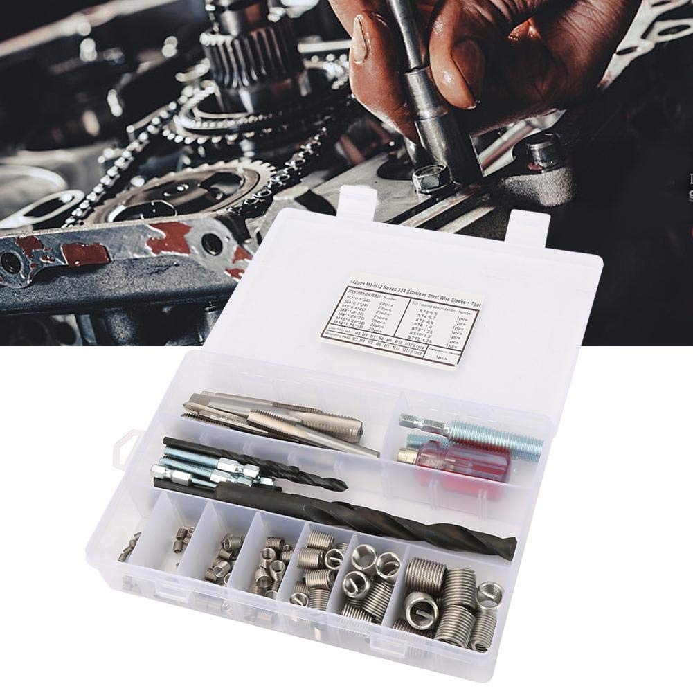 142Pcs//set Stainless Steel Threaded Inserts Nuts Assortment Tool Wire Screw Sleeve Thread Repair Insert Kit Tool Set