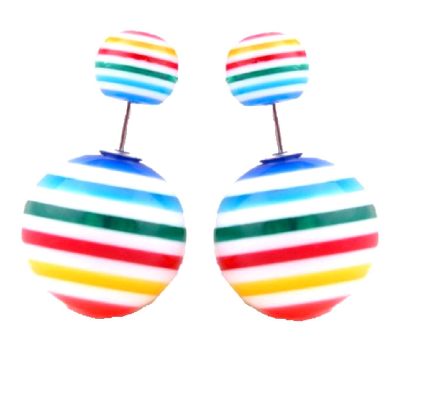 Fashion Trendy Double Sided Ball Stud Earrings for Women / AZERDSA16 (Blue)