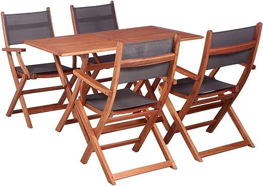 Tidyard- Mesa y Silla de jardín Plegables Muebles de jardín de 5 Piezas de eucalipto Resistente y Madera Textil.: Amazon.es: Hogar