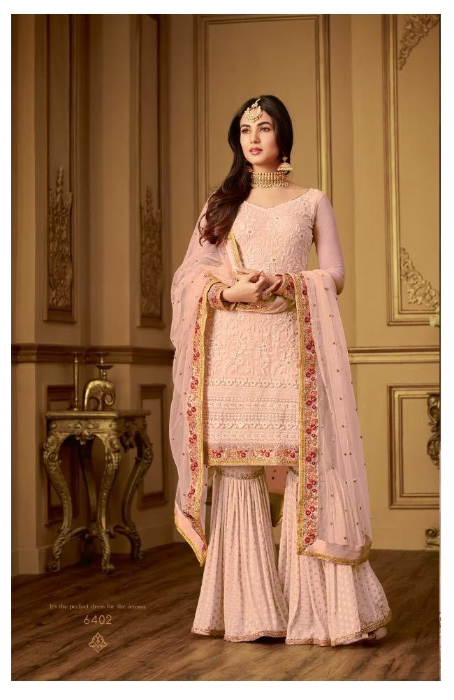 Laxminarayan Women Bollywood Indian Pakistani Designer Net Ethnic Wear Sharara Style Salwar Suit (X-Large, Peach)
