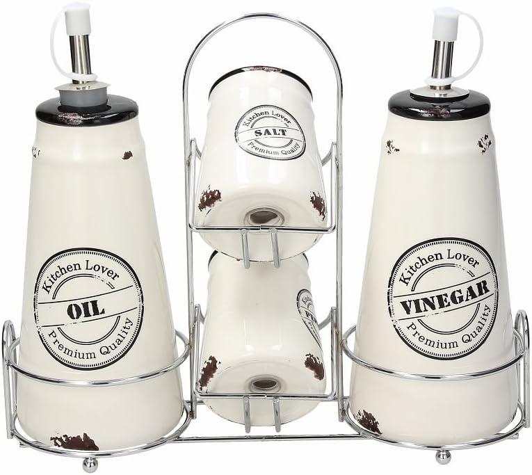 Tognana Urban Chic Menage Aceite, vinagre, Sal, Pimienta, cerámica, Blanco, 1