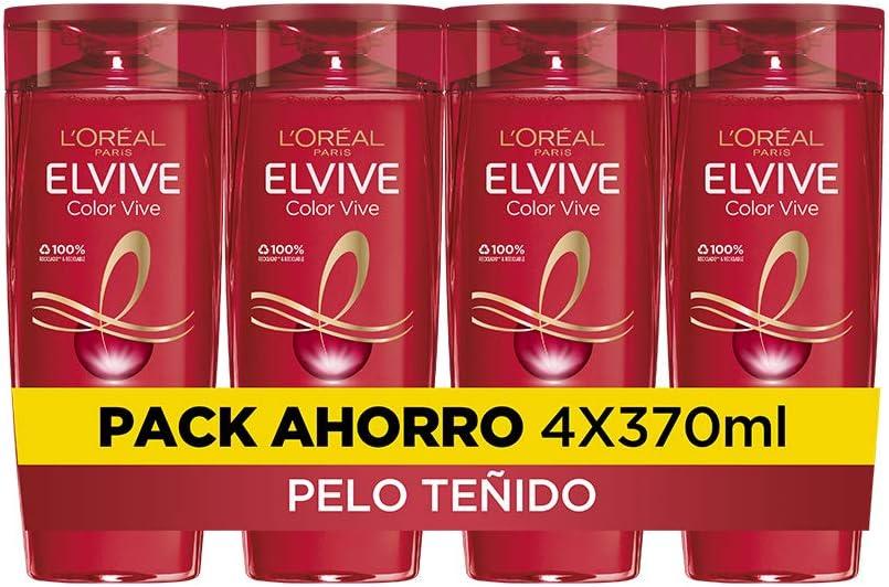 L'Oreal Paris Elvive Color Vive Champú Protector, Para Pelos Teñidos o con Mechas, Pack de 4 Unidades x 370 ml, Total: 1480 ml