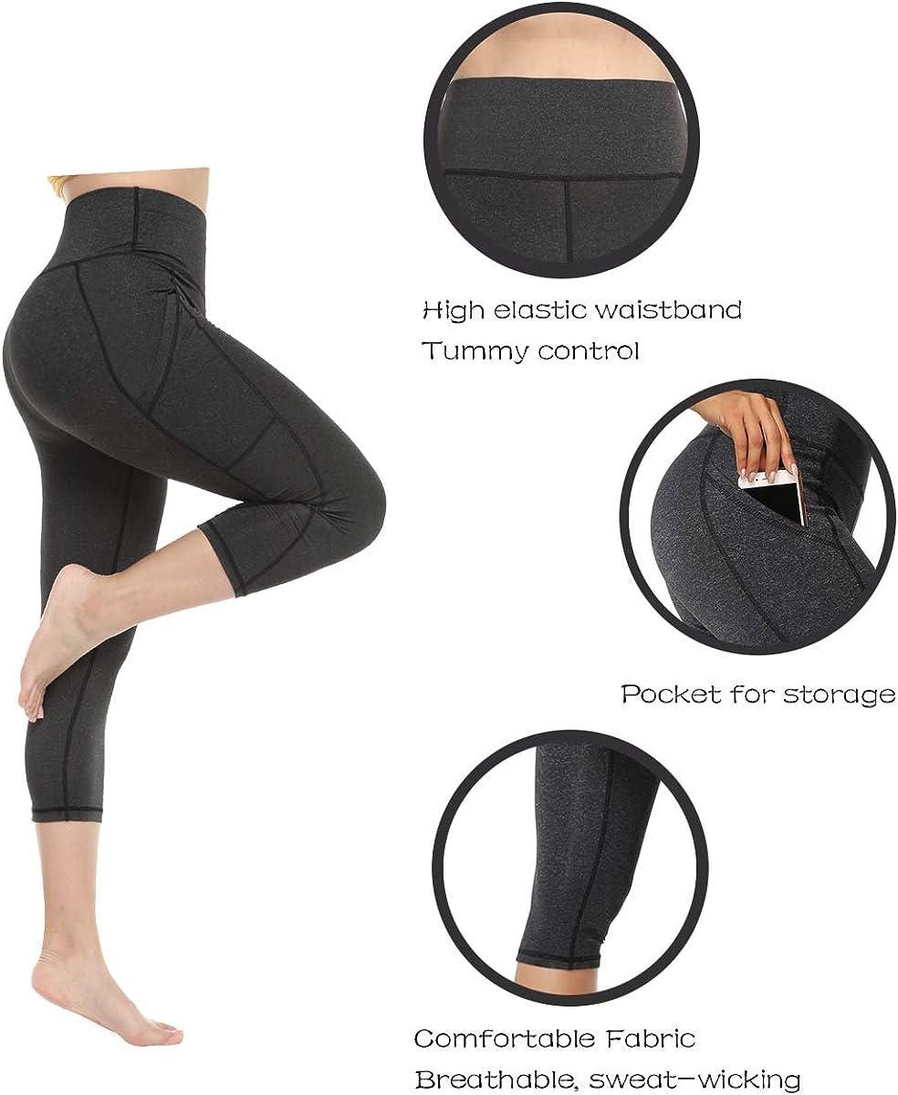 CFR Women High Waist Gym Running Leggings with Pockets Workout Yoga Pants