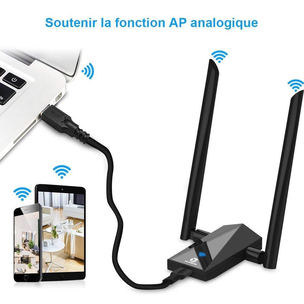 Recbot Cl/é WiFi USB 1200Mbps Adaptateur WiFi Antenne D/étachable Double Bande 5.8GHz//867Mbps ou 2.4GHz//300Mbps,Compatible AVCE Windows 2000//XP//Vista//7//8//10,Linux,Mac.