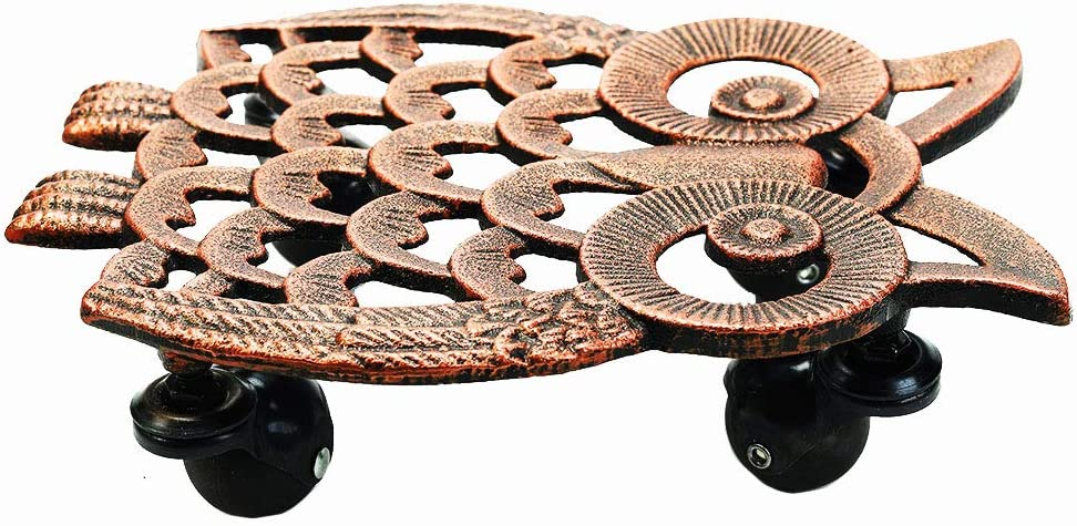 Sungmor Cast Iron Heavy Duty Plant Caddy 28CM Length with 4 Solid Wheels /& Lovely Red Copper Owl Design Flowerpot or Heavy Article Decorative Plant Dolly Rolling Plant Stands for Planter