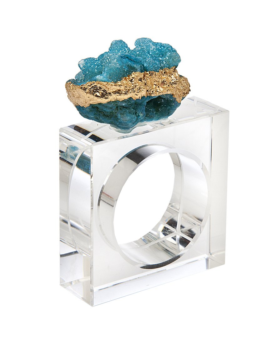 James Scott Elegant Geode Crystal Holder Rings Square Design Set of 4 -For Dinner, Parties and Everyday Use! (Blue)