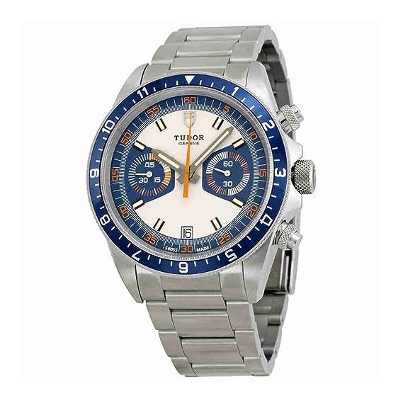 Tudor Patrimonio Cronógrafo Azul y Plata Dial Acero inoxidable Acero Mens Reloj 70330B-95740