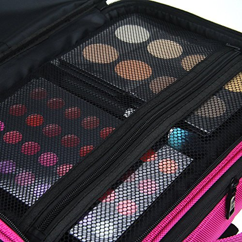 FLYMEI Professional Makeup Case 3 Layer Cosmetic Organizer 16'' Make Up Artist Storage with Shoulder Strap and Adjustable Divider, Pink by FLYMEI (Image #3)