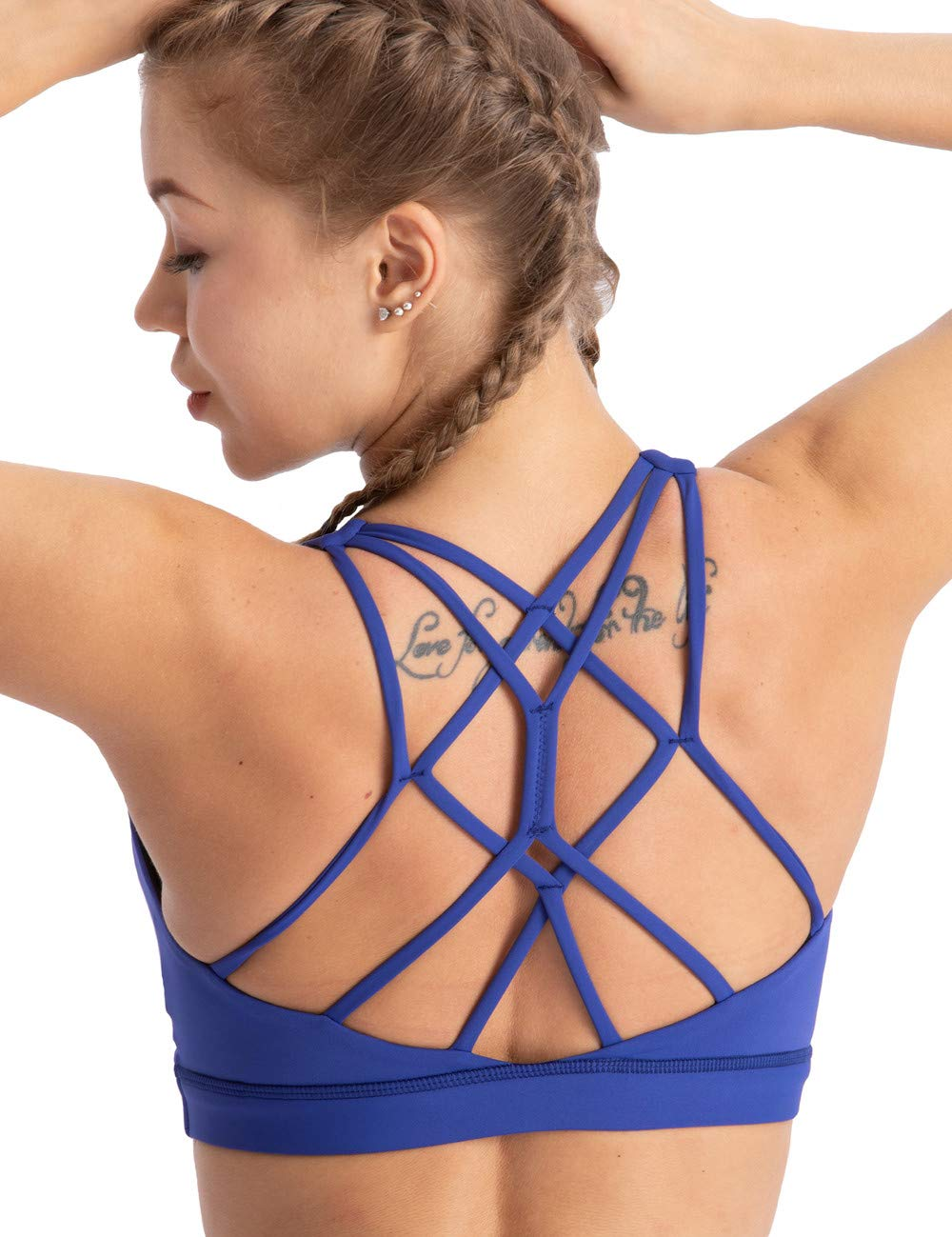coastal rose Women's Yoga Bra Top Strappy Back Push Up Crop Sports Bra Activewear US XXL Royal Blue by coastal rose
