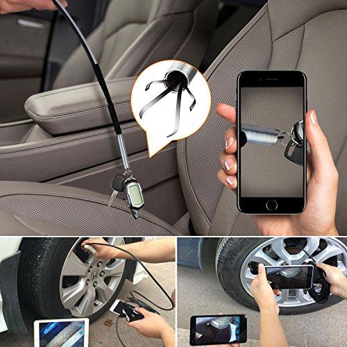 iPhone Samsung 1200P Semi-rigid Wireless Endoscope 2.0 MP HD Wifi Borescope Snake Camera for Android /& IOS Smartphone Ipad Wifi Inspection Camera Black 33FT Table