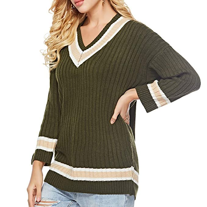 d95530030ddd Alimao Women Winter Fashion Long Sleeve Knitted Patchwork Tops Loose Sweater  Blouse Green at Amazon Women s Clothing store
