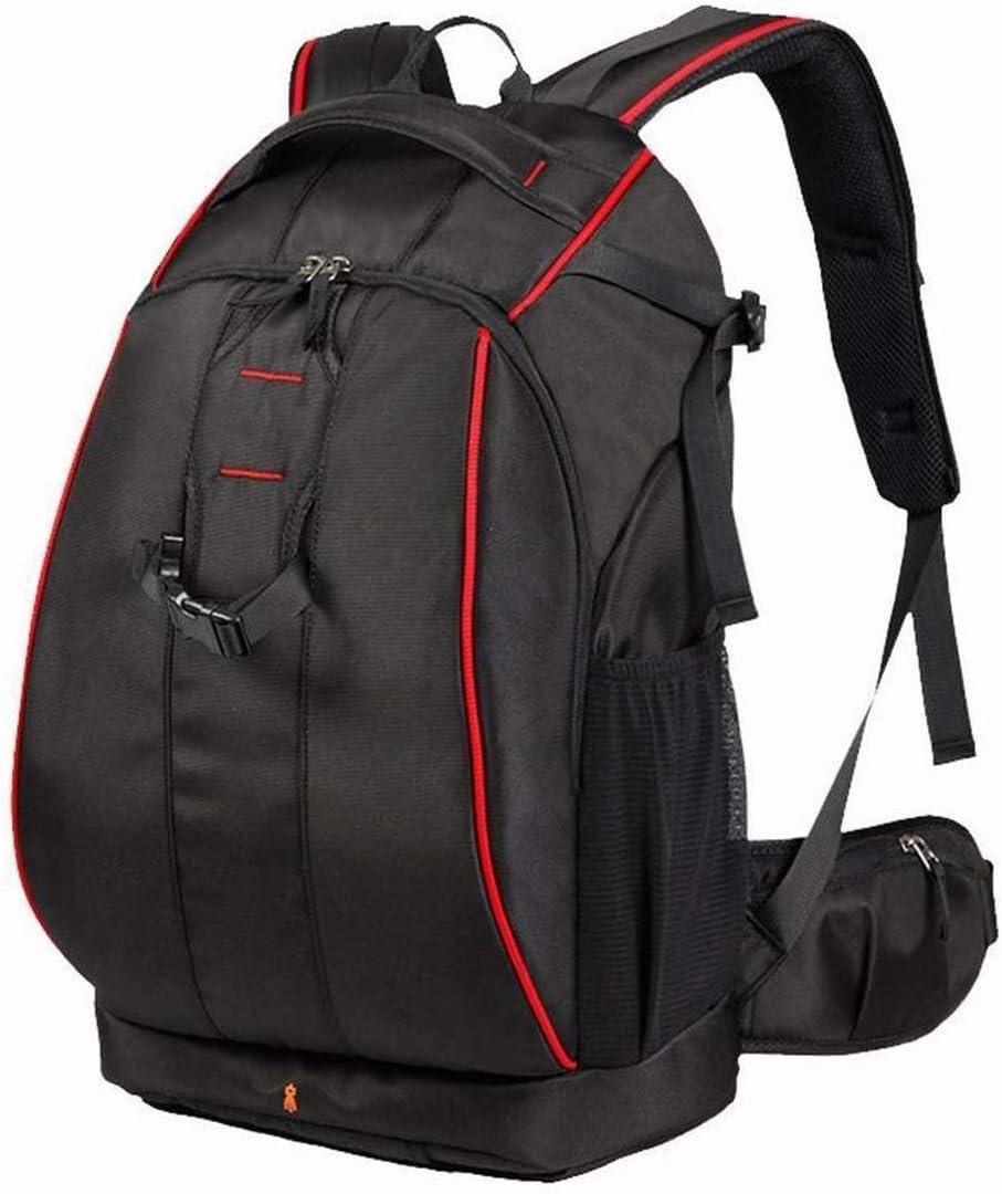 Grey Interior Qingbaotong Stylish Minimalist SLR Backpack Large-Capacity Anti-Theft Camera Bag Camera Tripod and Lens Backpack Leisure Bag Black Exquisite