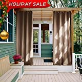 Outdoor Curtain Panel for Patio - NICETOWN Grommet Top Thermal Insulated Blackout Outdoor Curtain / Drape for Patio / Front Porch (52 Inch Wide by 108 Inch Long, Tan-Khaki)