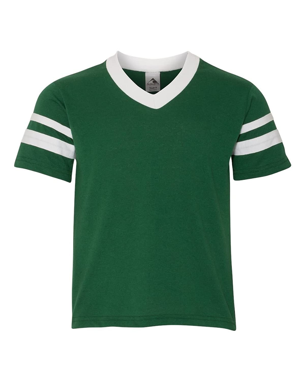 Augusta Sportswear SHIRT ボーイズ B003WXVDXUダークグリーン/ホワイト L