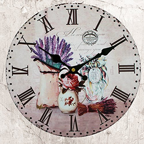 HUABEI Wood Wall Clock Vintage Lavender In Vase French Country