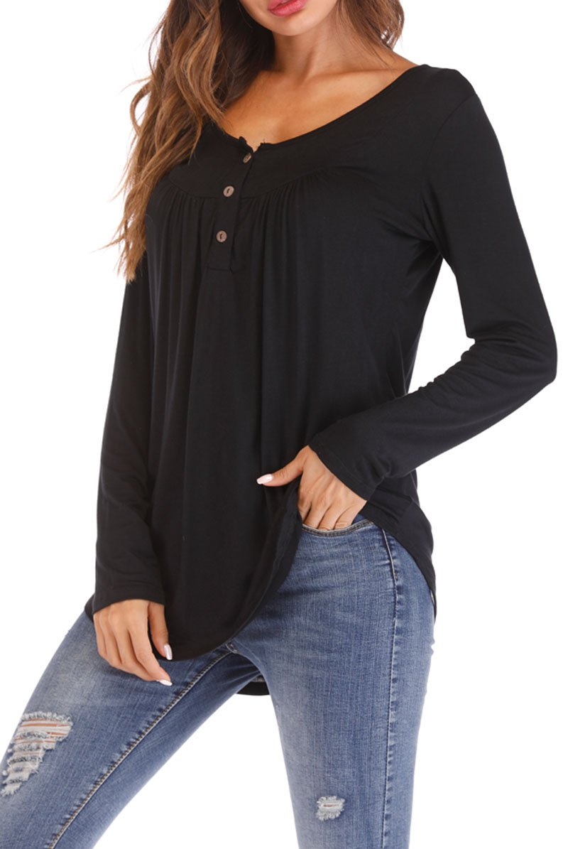 Glomeen Womens Long Sleeve Blouse Solid Button Casual Loose Henley Shirts Tunic Tops