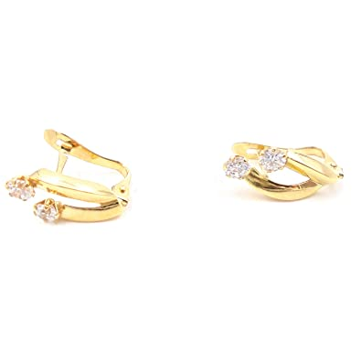 b14a92a7504 Earrings Woman Young 18 K Yellow Gold with Modern Design and 2 Zirconia  engarzadas with 6 Claws with Fantastic Closure Catalan.
