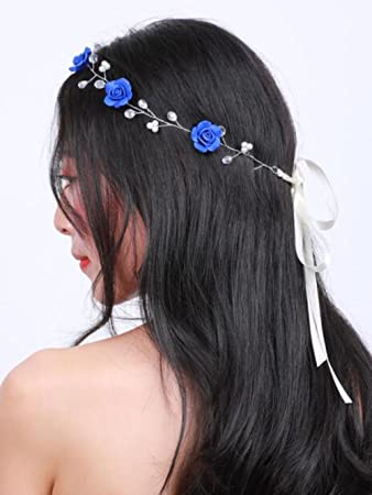 Amazon.com   Missgrace Bridal Crystal Navy Blue Headband Wedding and Bride  Hairpiece for Evening Party -Navy Blue Flower Women and Flower Girl Vintgae  Hair ... bddb8014ad9