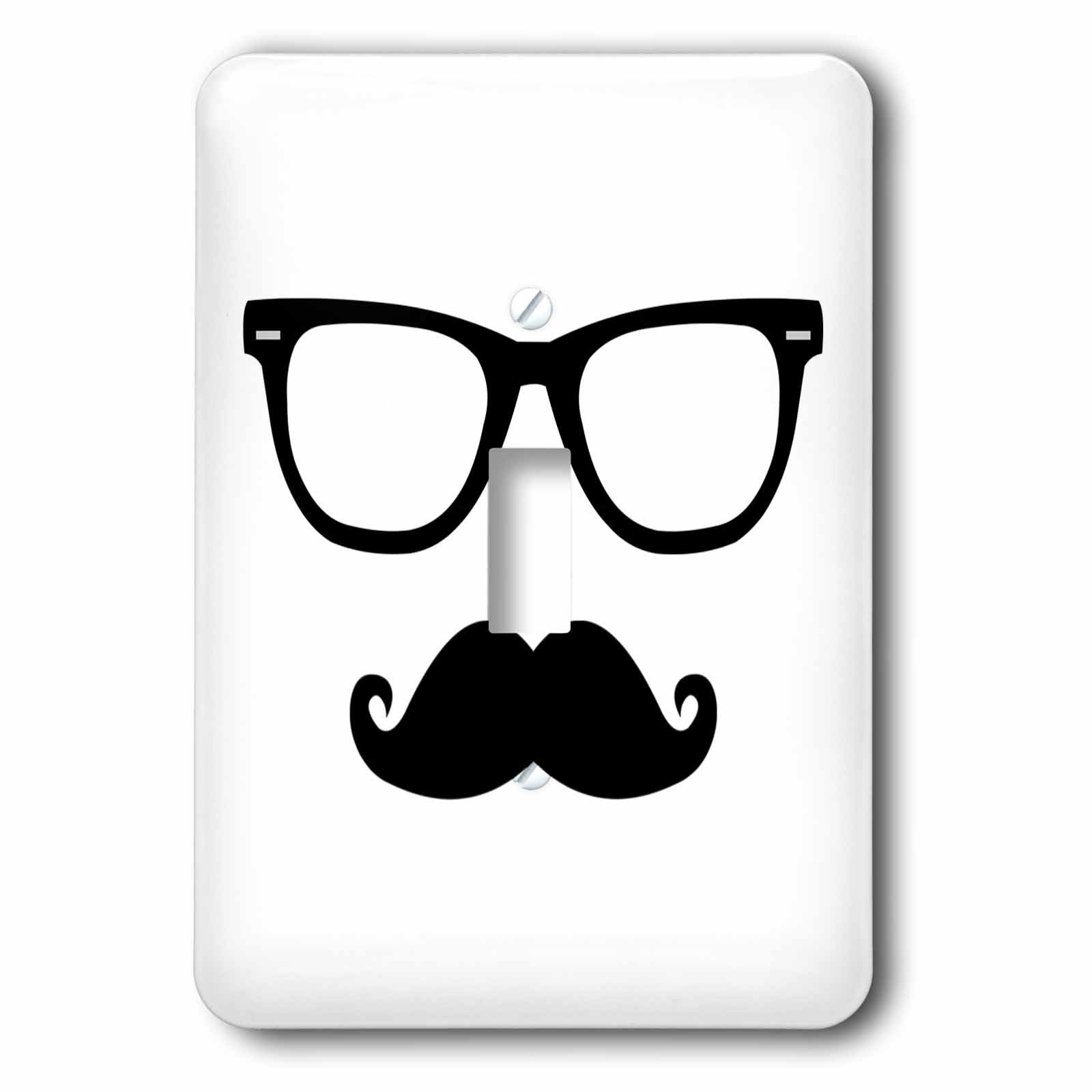 3dRose lsp_181830_1 Hipster Glasses and Mustache Light Switch Cover