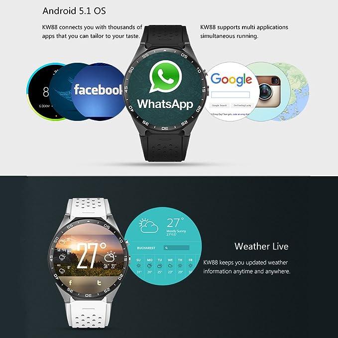 Kingwear KW88 Smartwatch Teléfono 3G WCDMA 1,39 pulgadas Pantalla ...