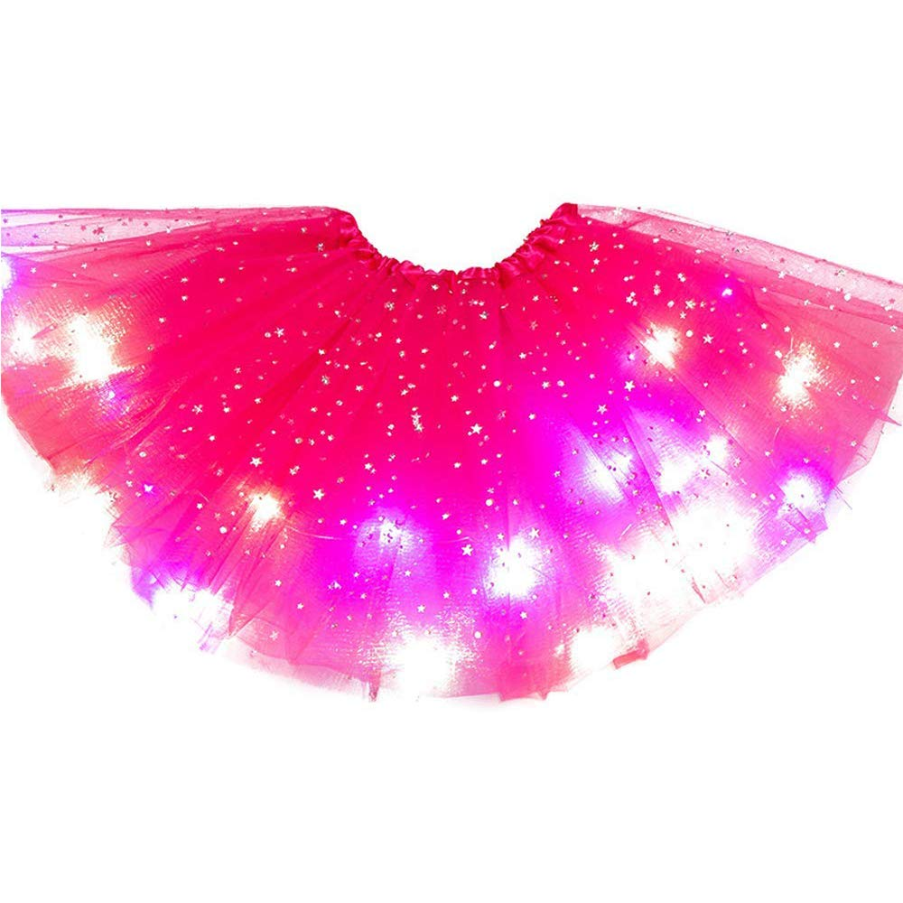 Esoes Morbida Gonna Corta in Tulle a Pieghe per Bambina per Bambine dai 3 ai 12 Anni Gonna da Ballerina con LED Luminosa