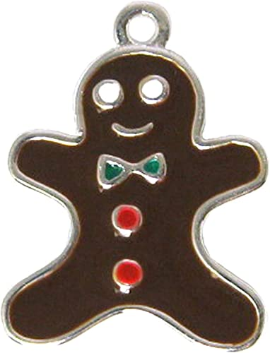 925 Sterling Silver Enamel Gingerbread Man Pendant Charm Necklace Holiday