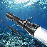 TurnRaise ダイビング用懐中電灯 Cree XM-L2 Led 1200 ルーメン 高輝度 3ライトモード 100M水中対応 滑り止め 防水機能付き スキューバ キャンペンなどアウトアド活動に最適 (ブラック)