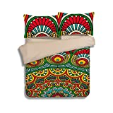 WarmGo Personality Customized 3D Duvet Cover Set Full Size Bohemia Exotic Patterns Lightweight Microfiber Polyester Bedding Sets 3D 3 Pieces (2 Pillowcases and 1 Duvet/Quilt Cover )No Comforter