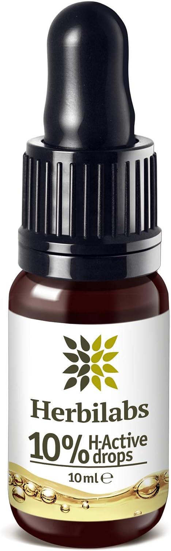 Premium Aceite de Semillas de Cañamo - Gotas Naturales 10% H-Active Hemp Oil | Para Alivio del Dolor & Ansiedad | Los Mejores Ingredientes de Cultivo Controlado | Aceites Esenciales Naturales 10ml
