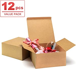 "ValBox Premium Gift Boxes 12 Pack 8 x 8 x 4"" Brown Paper Gift Boxes with Lids for Gifts, Crafting Cupcake Boxes, Easy Assemble Boxes"