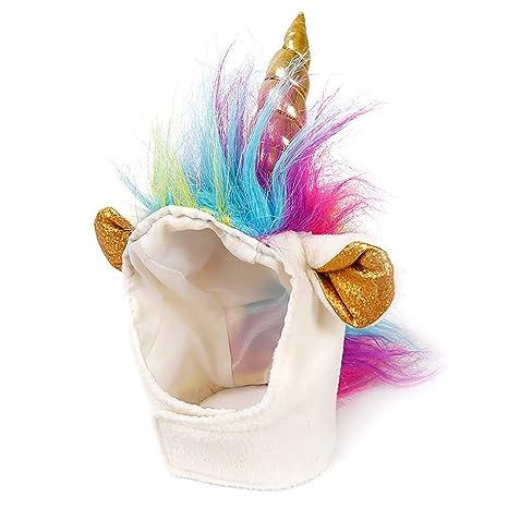 Ndier Unicorn - Gorro de Hombre para Perros y Gatos pequeños, Disfraz de Mascota para