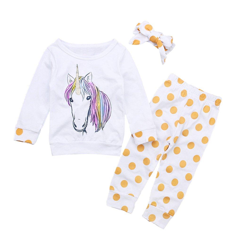 LvRao Ragazze 3Pcs Abiti Set T-shirt Felpa Pullover Stampato di Animale + Pantaloni Pois + Bowknot Fascia per Capelli