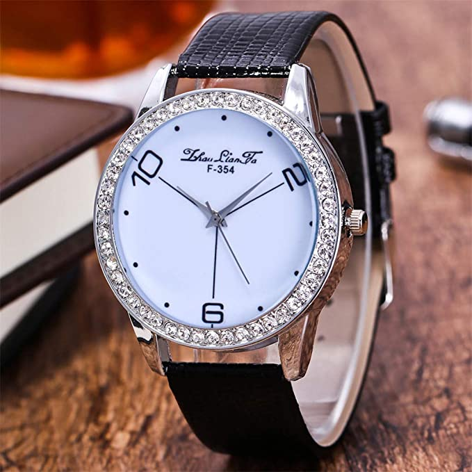 Amazon.com: Reloj de DAMA WoCoo Simple Analog Quartz Rhinestone Dial Wrist Watch with Leather Strap Watches Gifts (Red): Kitchen & Dining