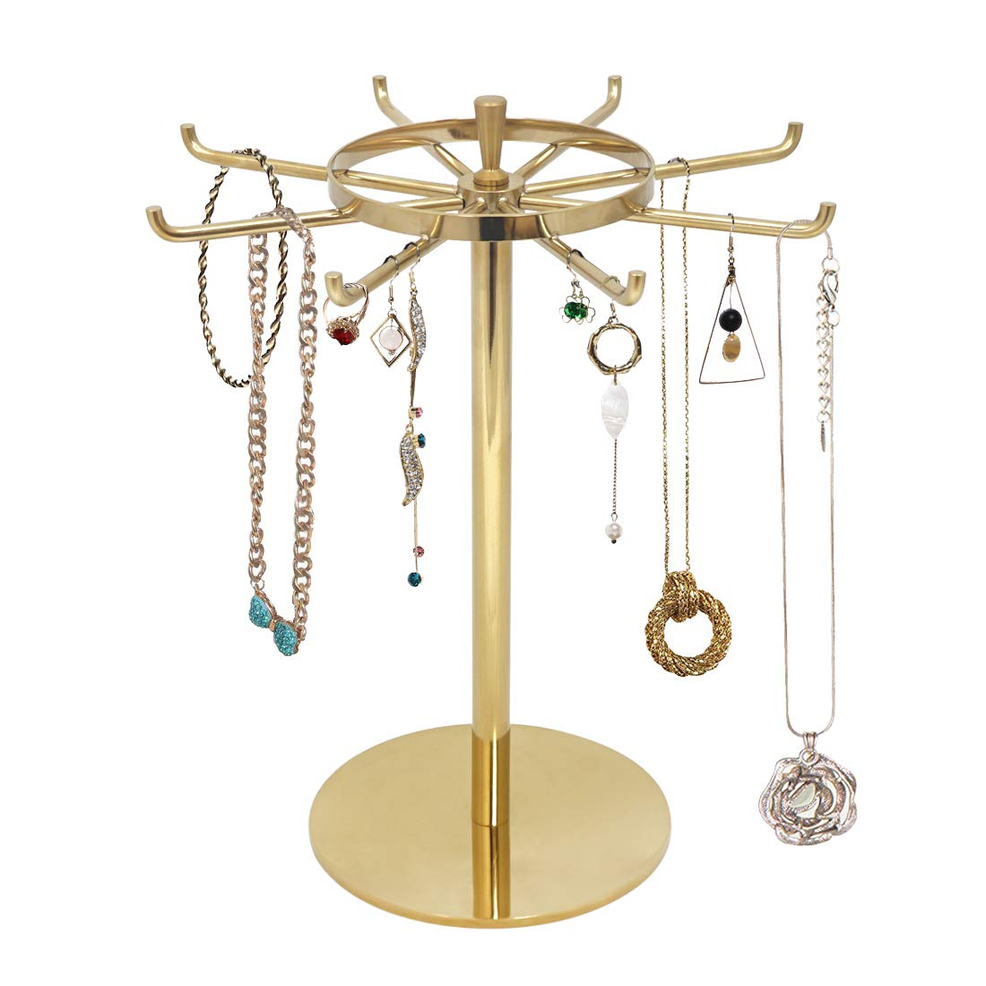 Metal Jewelry Display Stand, Gold Rotatable Table Top Jewelry Display Holder Necklaces, Bracelets, Earrings, Ring Hanging Jewelry Organizer,Gold