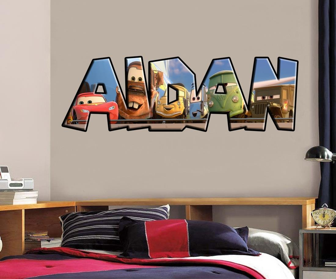Cars Movie PERSONALIZED NAME Decal WALL STICKER Home Art Disney Mcqueen J244, Large