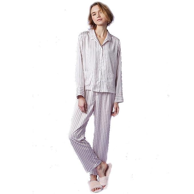 SQINAA Conjunto de pijama de la mujer de la raya,Pijama de manga larga ropa