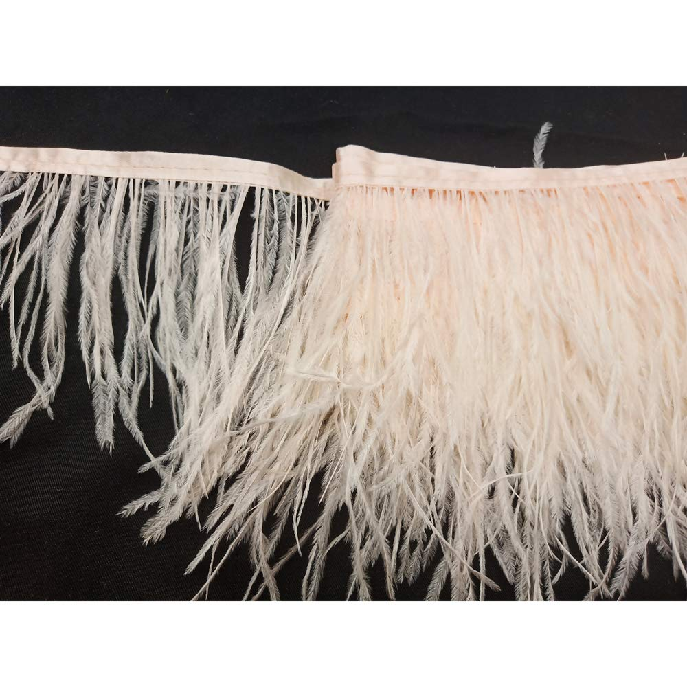 wanjin Ostrich Feathers Trims Fringe with Satin Ribbon Tape for Dress Sewing Crafts Costumes Decoration Pack of 2 Yards (light pink)