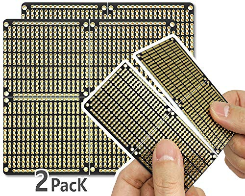 """PCB Prototype Board, Snappable Strip Board with Power Rails for Arduino and DIY Electronics, Gold-Plated, 3.8""""x3.5"""" (2 Pack, Matte Black)"""