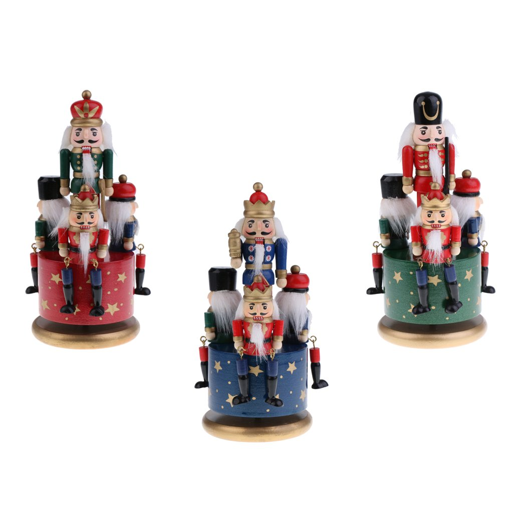 Dovewill 3 Set 20cm Classic Hand Painted Wooden Nutcracker Toy 4 Soldier Musical Box Home Christmas Decor Display Ornaments Kids Gift