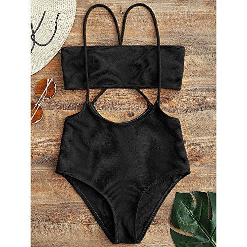 9d459e256317e ZAFUL Women s Two Piece Ribbed Bandeau Top and High Waisted Slip Bikini  Bottoms